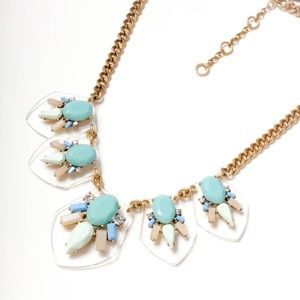 Jcrew acrylic .green stone statement necklace